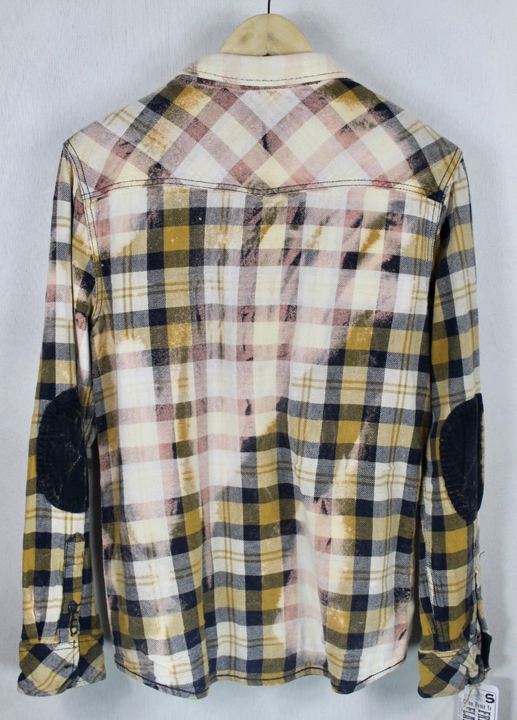 Vintage Gold, Navy and Dusty Rose Flannel Size Small