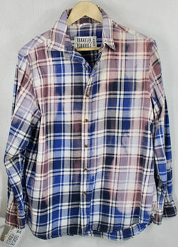 Vintage Navy, White and Mauve Lightweight Flannel Size Medium