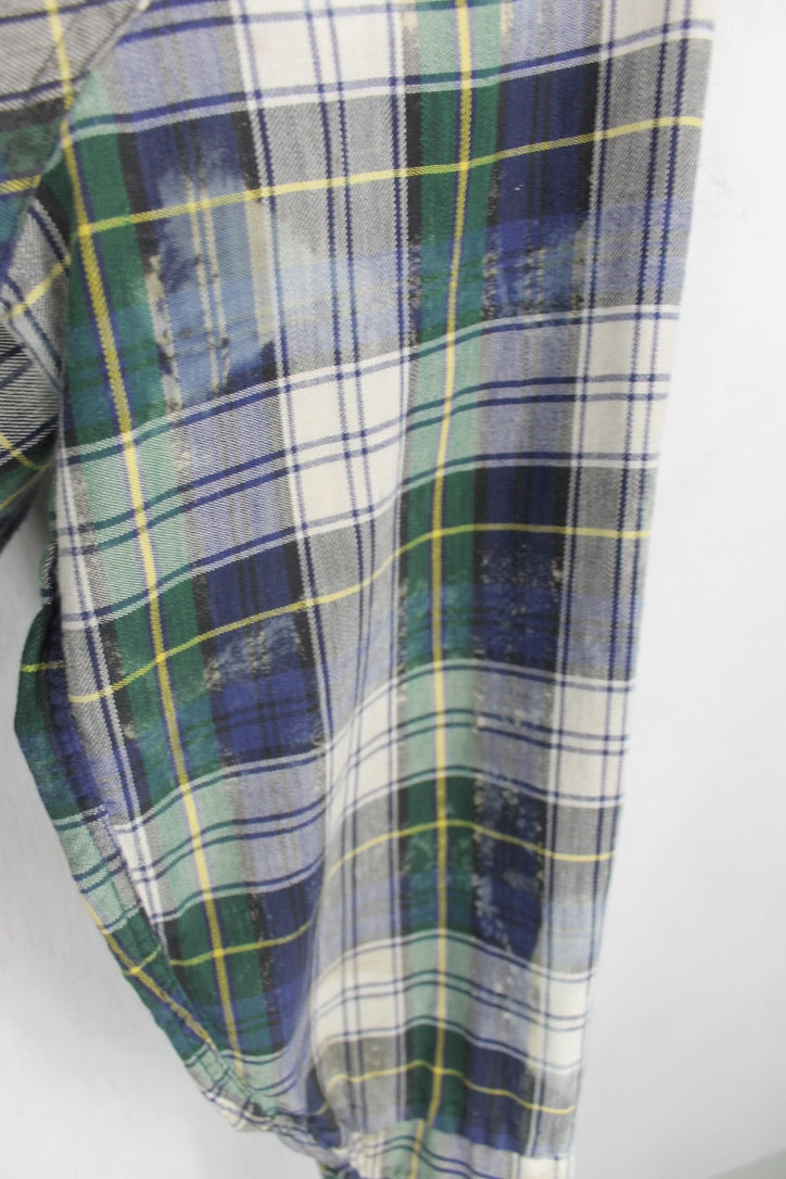Vintage Navy, Green and White Grunge Flannel Size Large