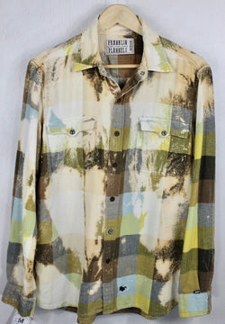 Vintage Yellow, Sky Blue, Light Green and Brown Flannel Size Medium