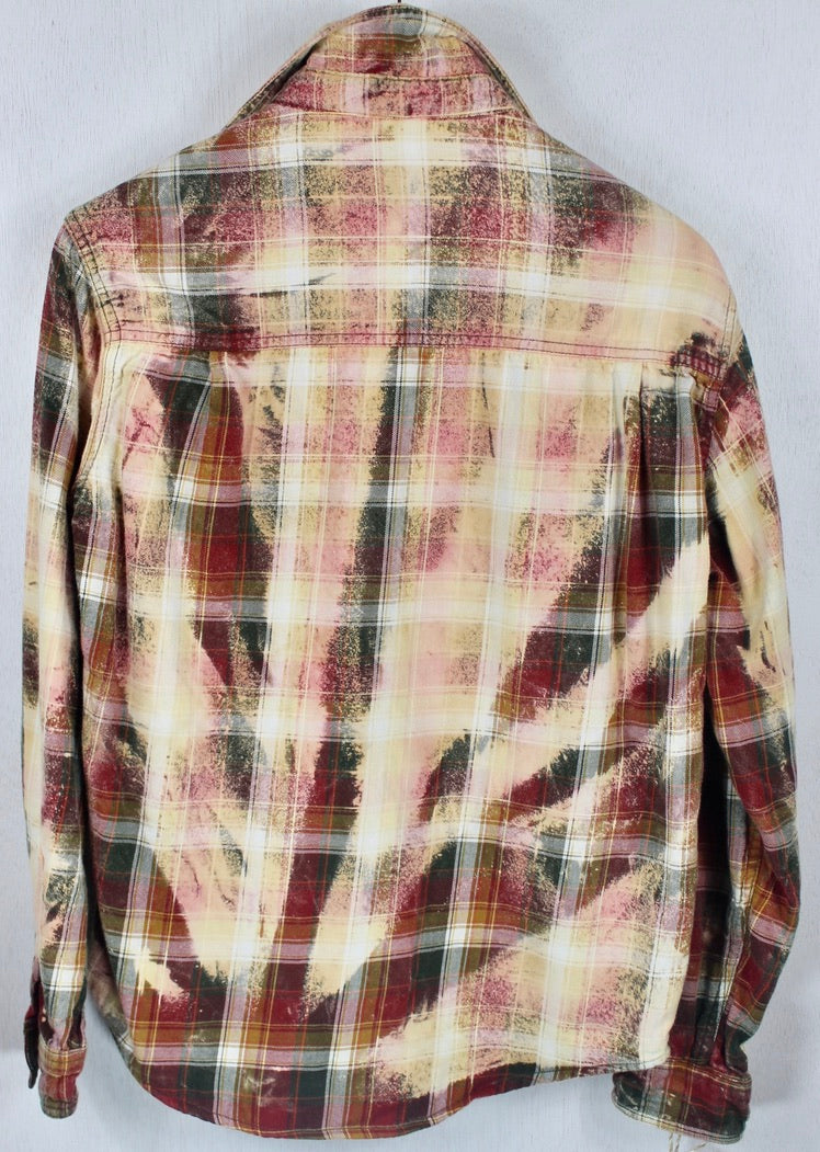 Vintage Red, Peach and Army Green Flannel Size Small