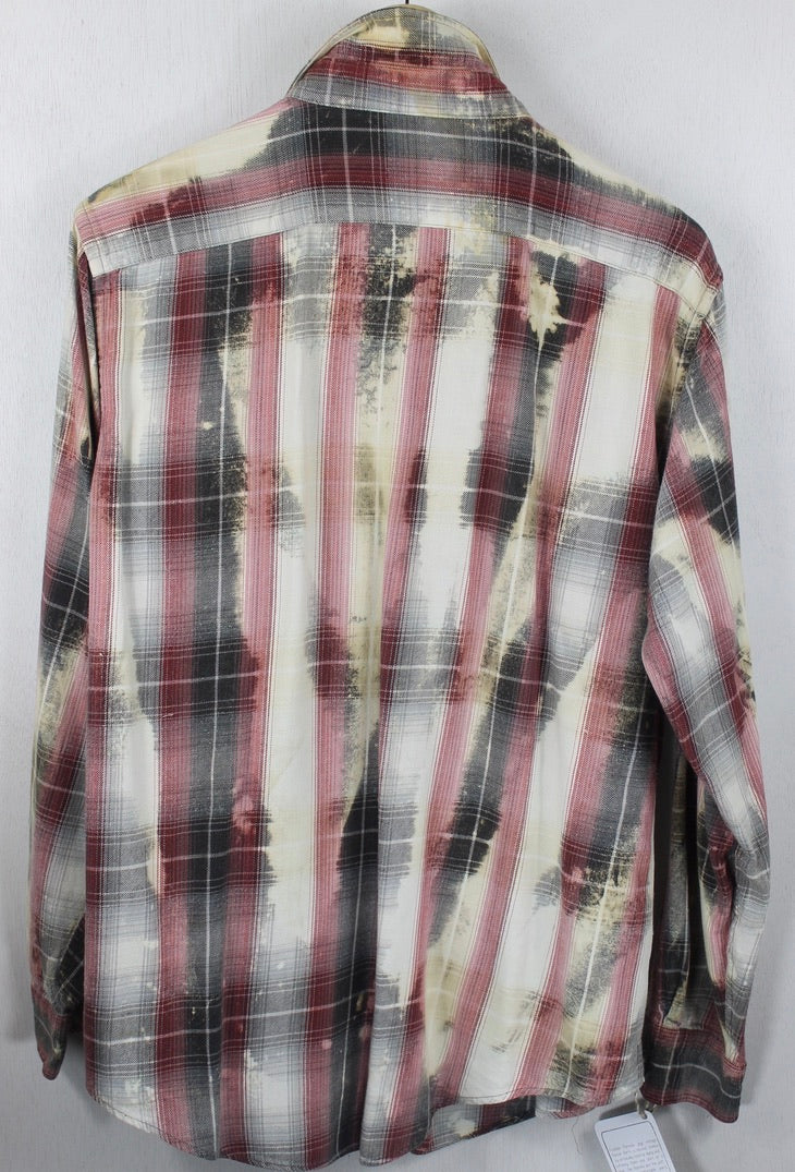 Vintage Red, Black, Grey and Cream Flannel Size Medium