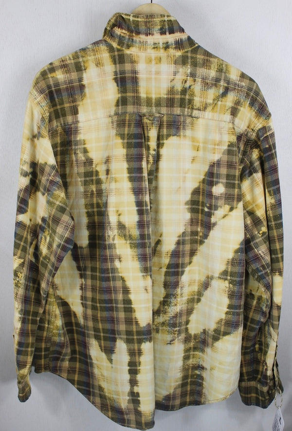 Grunge Vintage Yellow, Brown and Army Green Flannel SizeLarge