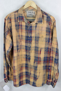 Vintage Sand, Blue, and Red Flannel Size Large