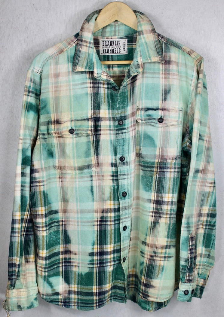 Vintage Mint Green and White Flannel Size Medium