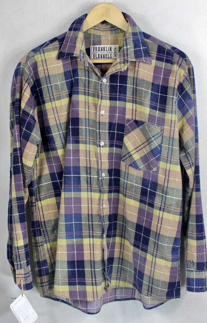 Vintage Retro Army Green, Brown and Purple Flannel Size Medium