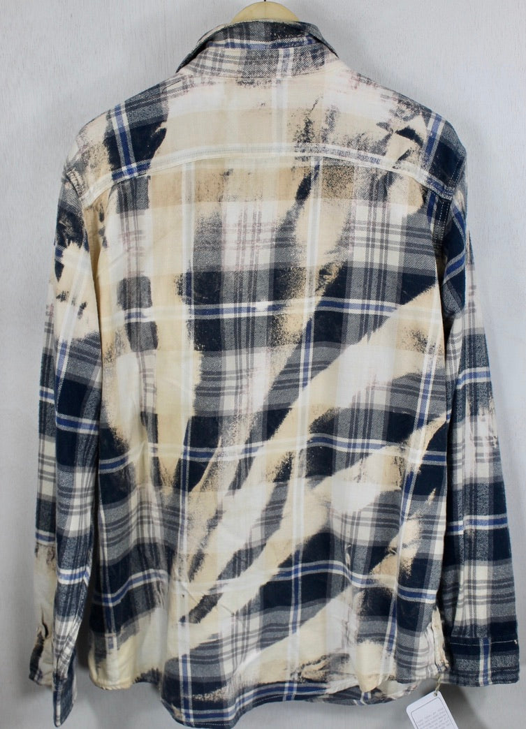 Vintage Navy Blue, Light Grey and Cream Flannel Size Large