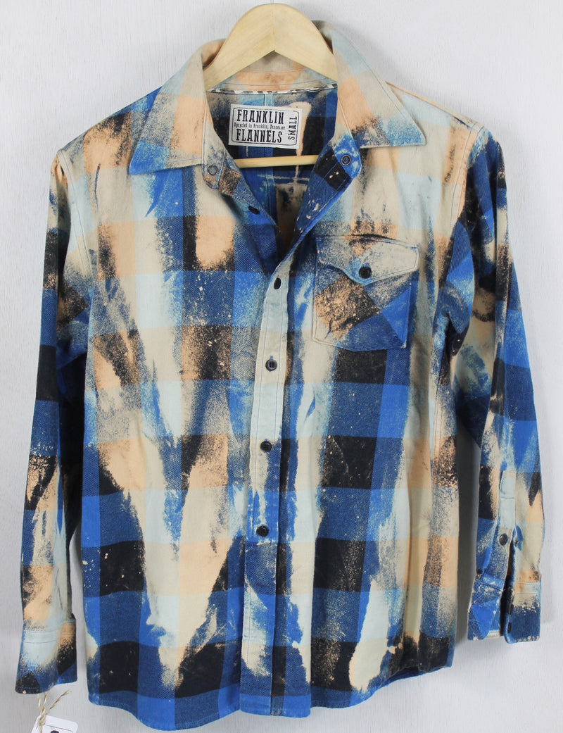 Vintage Royal Blue, Black and Cream Flannel Size Small