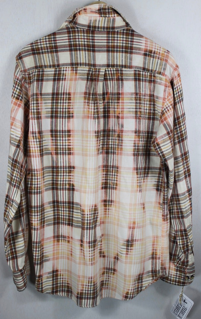 Vintage Cream, Coral and Brown Flannel Size Large
