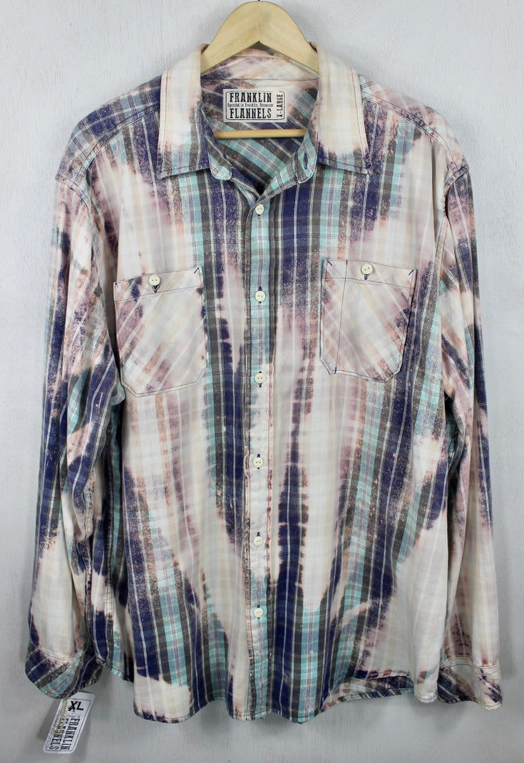 Vintage Turquoise, Sky Blue, Pink and Cream Flannel Size XL