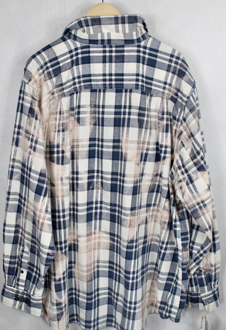 Vintage Blue, White and Cream Flannel Size XL Tall