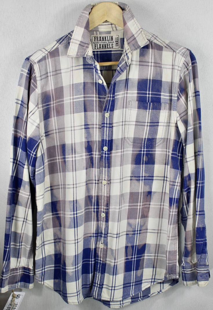 Vintage Navy and Faded Denim Blue Lightweight Flannel Size Small