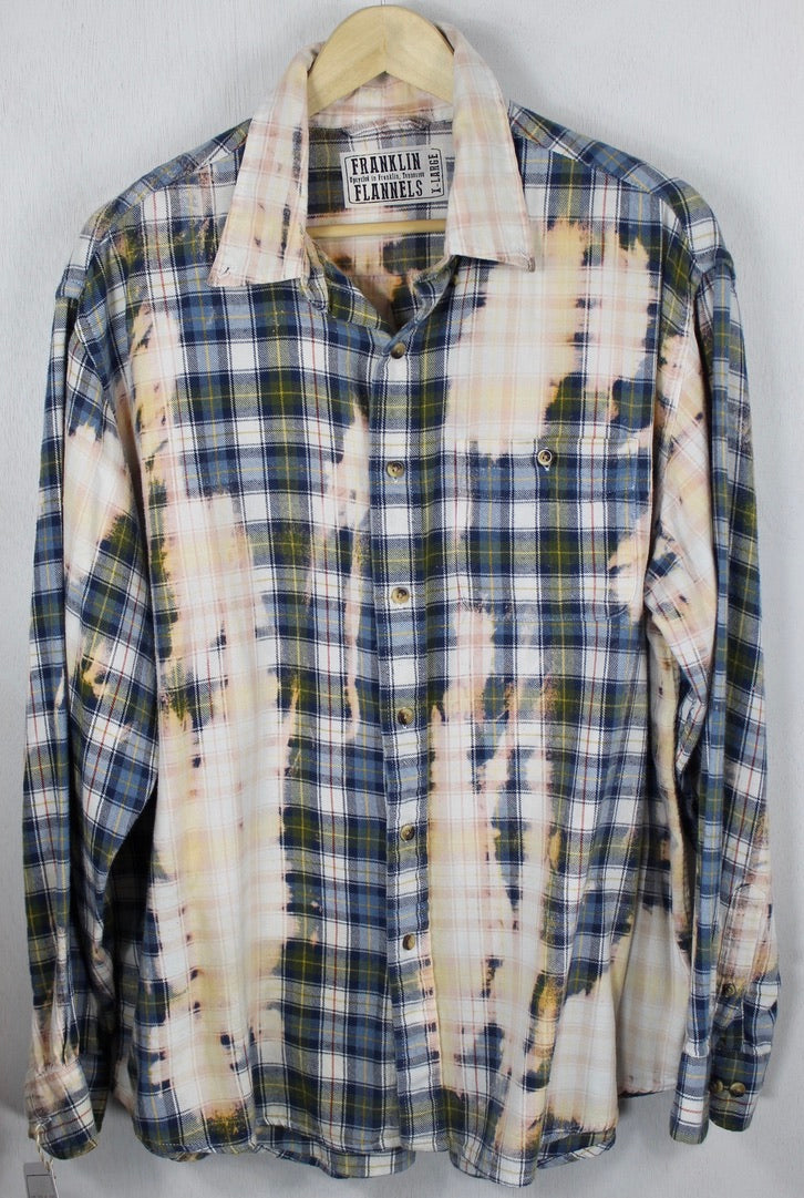 Vintage Blue, Peach, Yellow and White Flannel Size XL