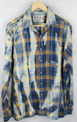 Vintage Deep Blue, Rust and Faded Blue Flannel Size Large