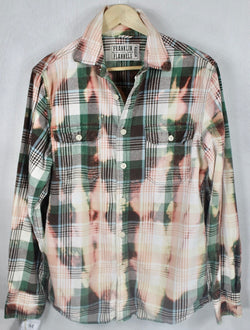 Vintage Green, Light Blue and Pink Flannel Size Medium