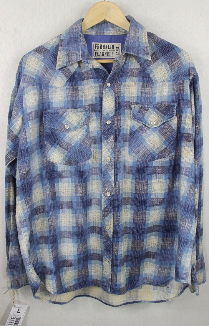 Vintage Western Style, Blue, Navy and White Flannel Size Large