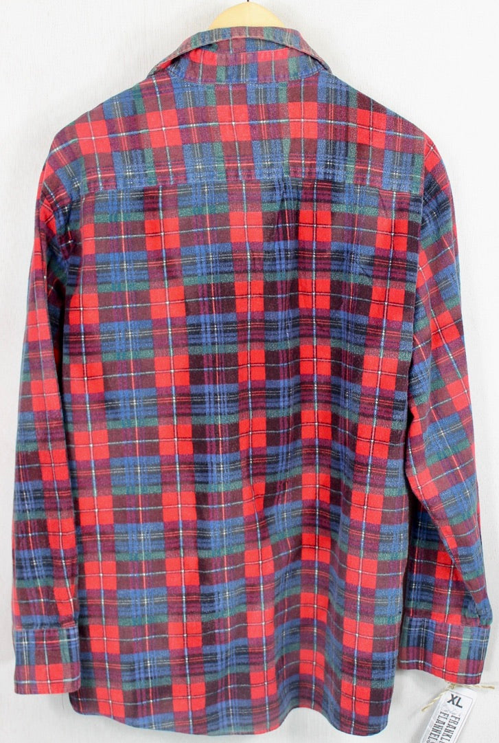 Vintage Retro Red, Royal Blue and Green Flannel Size XL