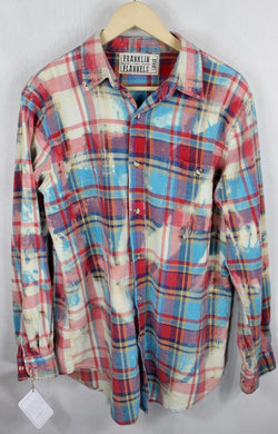 Vintage Sky Blue, Pink and Red Flannel Size Large