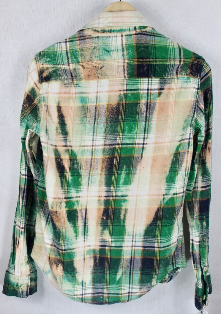 Vintage Green, Cream and Peach Flannel Size Small