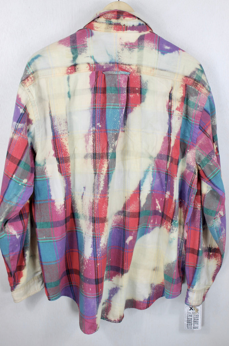 Vintage Teal, Purple, Cream and Red Flannel Size XL