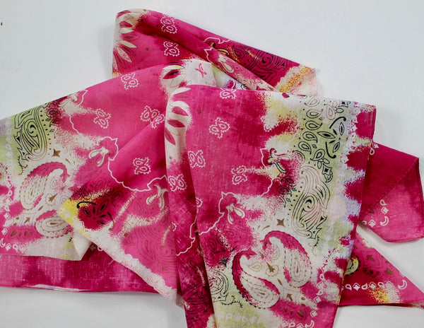 Pink, Red and Pale Yellow Reverse Dye Bandana