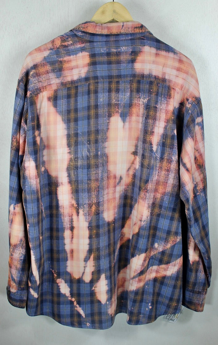 Grunge Vintage Slate Blue and Pink Flannel Size XL