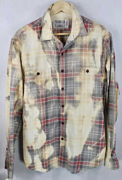 Vintage Light Grey, Pale Yellow and Faded Red Flannel Size Large