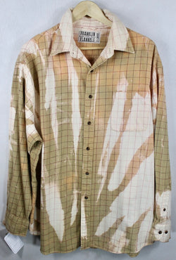 Vintage Caramel, Cream and Pink Flannel Size XL