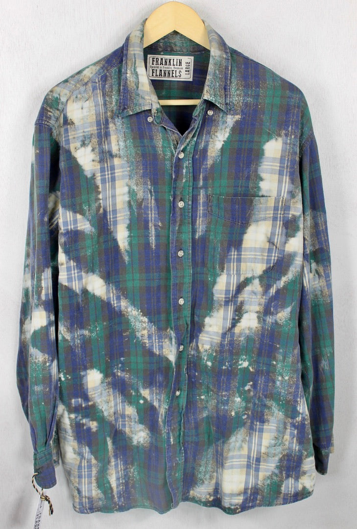 Vintage Navy Blue, Dark Green and Cream Flannel Size Large