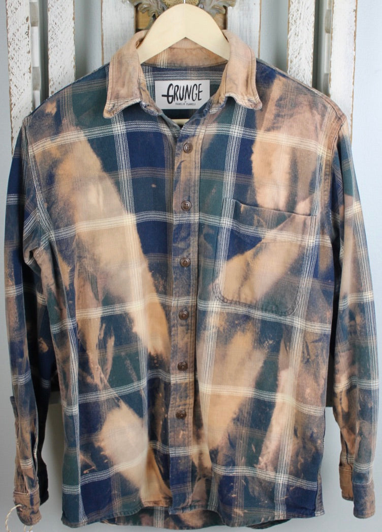 Grunge Navy Blue, Green, and Gold Flannel Size Small