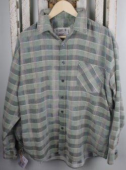 Vintage Moss Green, Light Green, and Grey Flannel Size Large