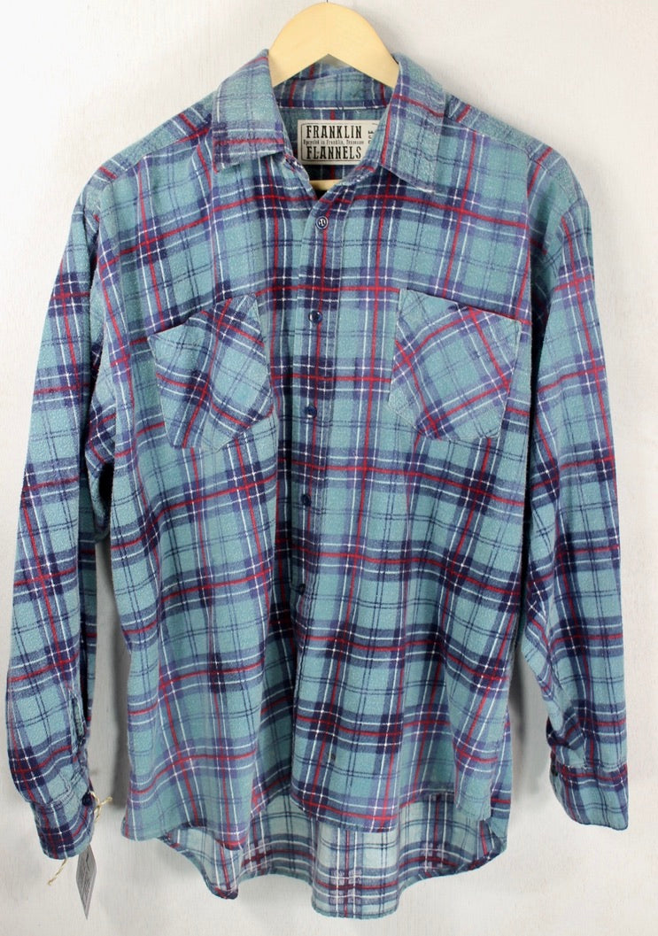 Vintage Retro Blue, Navy and Red Flannel Size Large