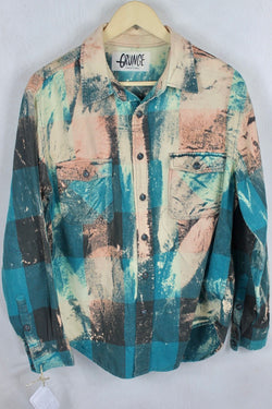 Vintage Dark Turquoise and Light Pink Grunge Flannel Size Medium