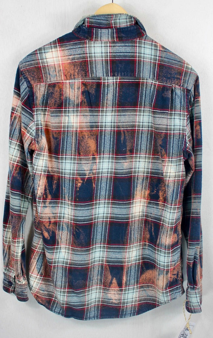 Vintage Navy, Light Blue and Rust Flannel Size Medium