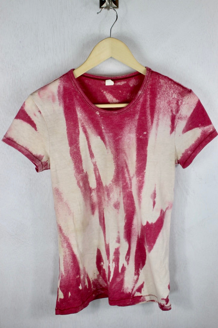 Bright Pink and Cream Reverse Dye T-Shirt