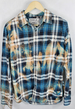 Vintage Turquoise, Black, White and Rust Flannel Size Small