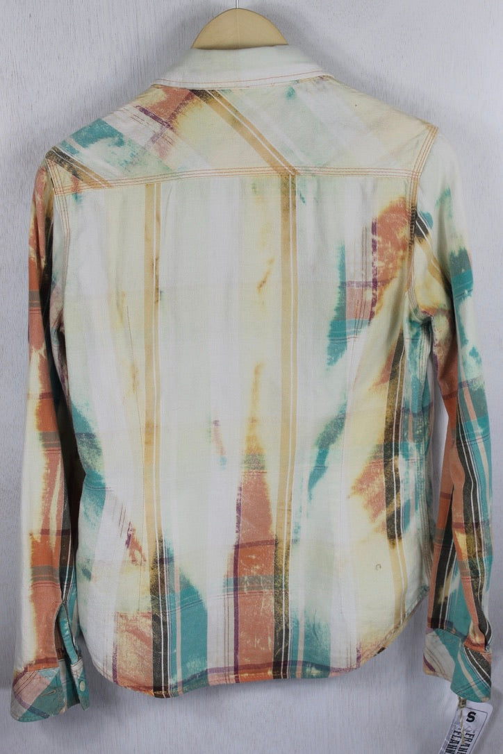 Vintage Peach and Turquoise Flannel Size Small