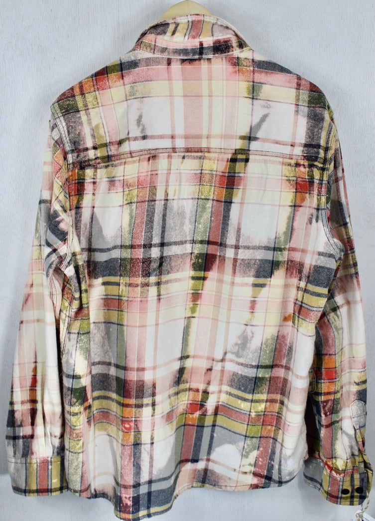 Vintage Red, Pink, Black and Cream Flannel Size Medium