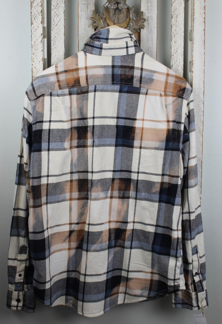 Vintage Navy Blue, Rust and Cream Flannel with Suede Size Large