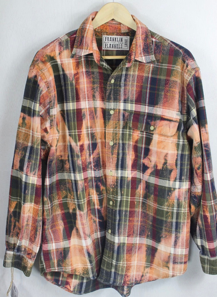 Vintage Army Green, Burgundy, Peach and Rust Flannel Size Large