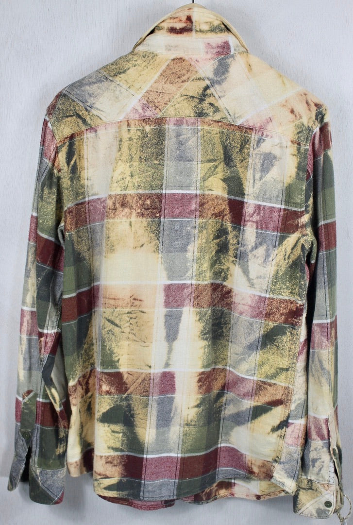 Vintage Army Green, Burgundy and Cream Flannel Size Medium
