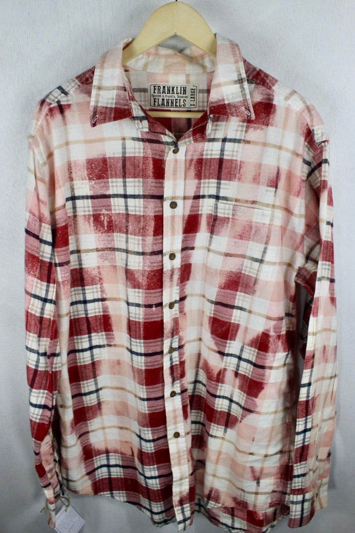 Vintage Pink, Red and Cream Flannel Size XL Tall