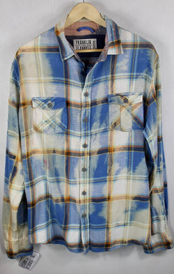 Vintage Light Blue, Yellow and White Flannel Size Medium