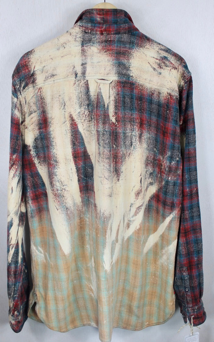 Vintage Red, Teal Blue and Vanilla Flannel Size XL