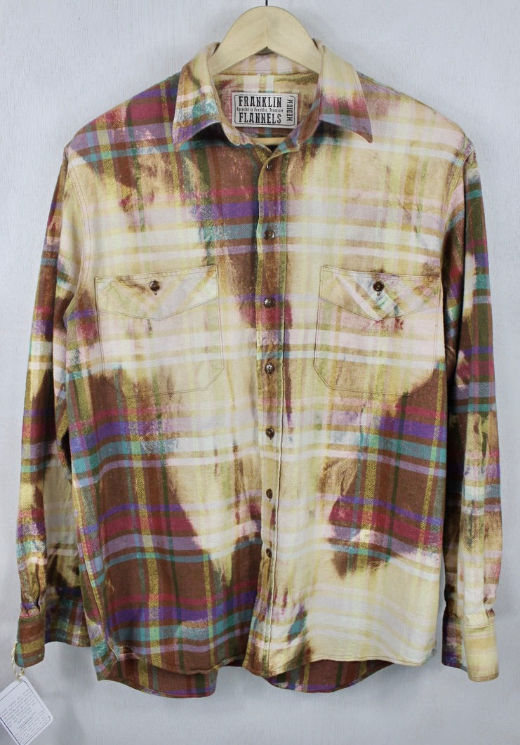 Vintage Brown, Gold, Light Yellow and Magenta Flannel Size Medium