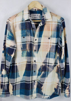 Vintage Teal Blue, Cream and Navy Flannel Size Small