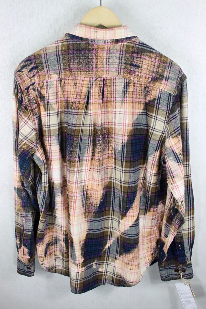 Vintage Navy Blue, Purple, Taupe and Pink Flannel Size Medium