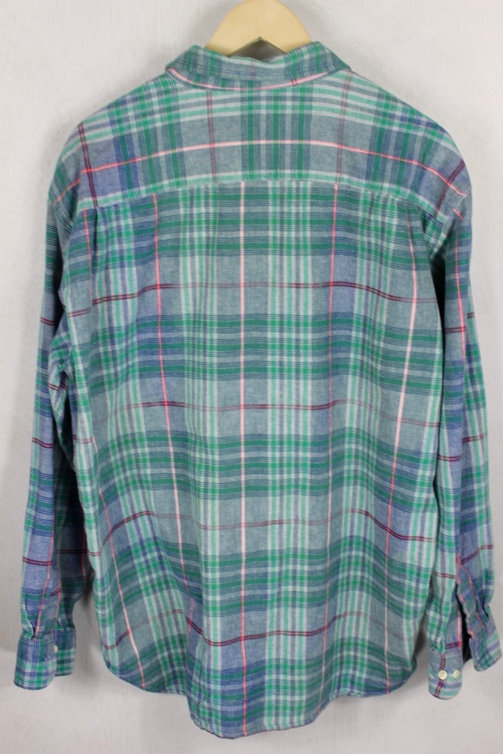 Vintage Green, Blue, and Red Classic Flannel