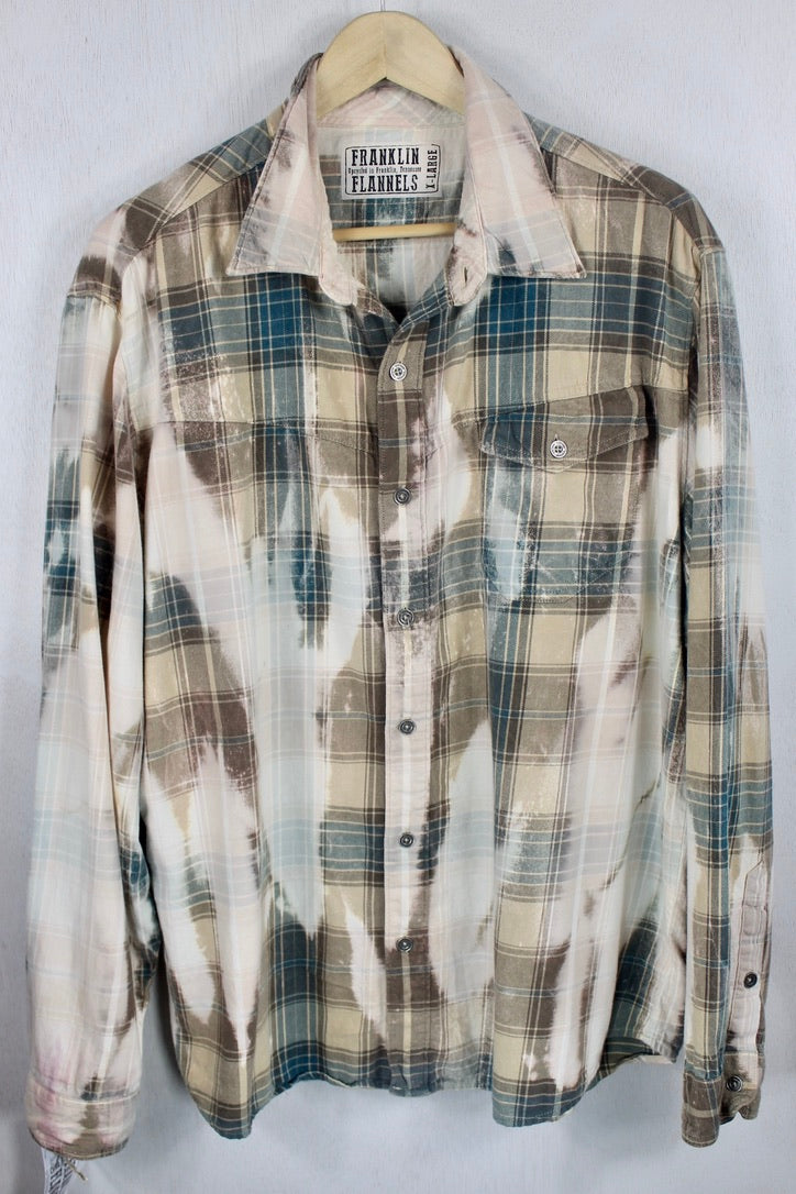 Vintage Teal Blue, Brown and Sand Flannel Size XL