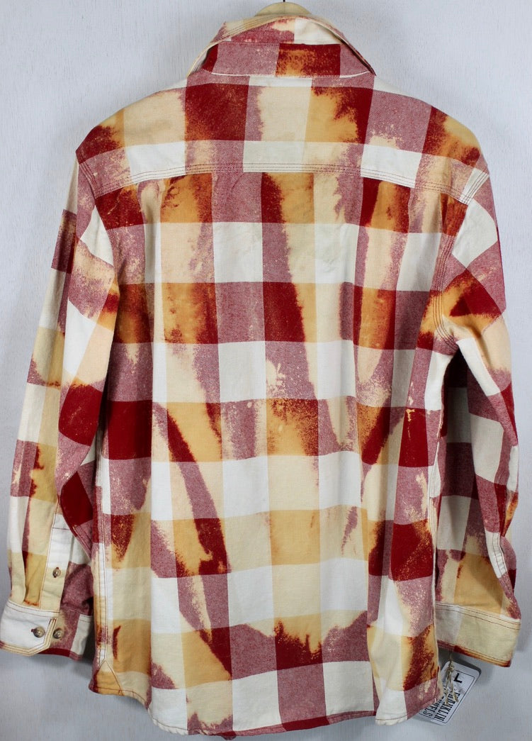 Vintage Red, Cream and Gold Flannel Size Large